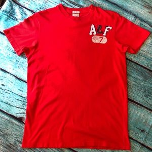 Abercrombie & Fitch Men's Red Muscle Tee Shirt